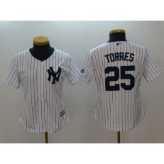 MLB New York Yankees #25 Gleyber Torres White Cool Base Women Jersey