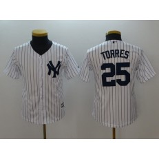 MLB New York Yankees #25 Gleyber Torres White Cool Base Youth Jersey