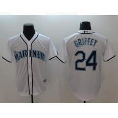 MLB Seattle Mariners #24 Ken Griffey Jr. White Cool Base Men Jersey