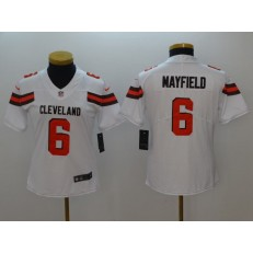 Women Nike Cleveland Browns #6 Baker Mayfield White Vapor Untouchable Limited NFL Jersey