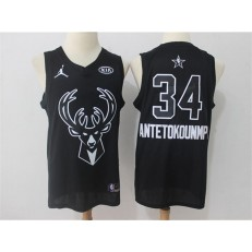 Milwaukee Bucks #34 Giannis Antetokounmpo Black NBA Jordan Swingman 2018 All-Star Game Men Jersey