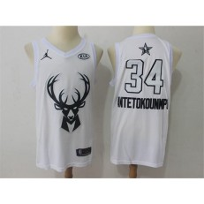 Milwaukee Bucks #34 Giannis Antetokounmpo White NBA Jordan Swingman 2018 All-Star Game Men Jersey
