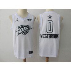 Oklahoma City Thunder #0 Russell Westbrook White NBA Jordan Swingman 2018 All-Star Game Men Jersey