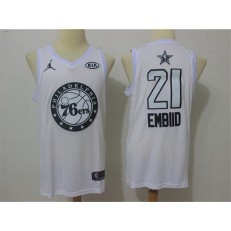 Philadelphia 76ers #21 Joel Embiid White NBA Jordan Swingman 2018 All-Star Game Men Jersey