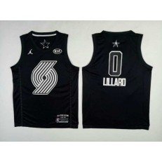 Portland Trail Blazers #0 Damian Lillard Black NBA Jordan Swingman 2018 All-Star Game Men Jersey