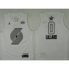 Portland Trail Blazers #0 Damian Lillard White NBA Jordan Swingman 2018 All-Star Game Men Jersey