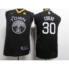 Golden State Warriors #30 Stephen Curry Black The Town Statement Edition Authentic Youth Jersey