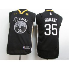 Golden State Warriors #35 Kevin Durant Black The Town Statement Edition Authentic Youth Jersey