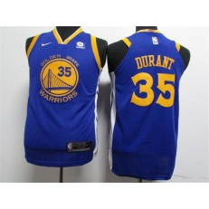 Golden State Warriors #35 Kevin Durant Blue Nike Authentic Youth Jersey