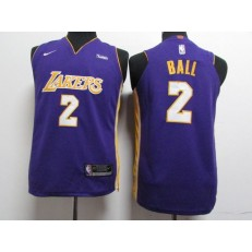 Los Angeles Lakers #2 Lonzo Ball Purple Nike Authentic Youth Jersey