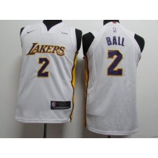 Los Angeles Lakers #2 Lonzo Ball White Nike Authentic Youth Jersey