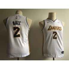 Los Angeles Lakers #2 Lonzo Ball White Nike Swingman Youth Jersey