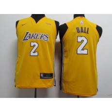 Los Angeles Lakers #2 Lonzo Ball Yellow Nike Authentic Youth Jersey