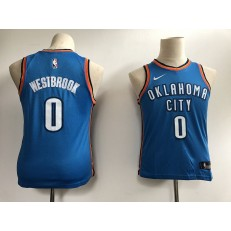 Oklahoma City Thunder #0 Russell Westbrook Blue Nike Swingman Youth Jersey