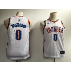 Oklahoma City Thunder #0 Russell Westbrook White Nike Swingman Youth Jersey