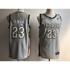 Cleveland Cavaliers #23 LeBron James Gray Nike City Edition Swingman Men Jersey