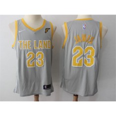 Cleveland Cavaliers #23 Lebron James Gray The Land Nike Swingman Men Jersey