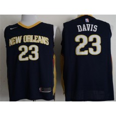 New Orleans Pelicans #23 Anthony Davis Navy Nike Authentic Men Jersey