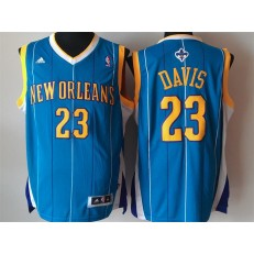 New Orleans Pelicans #23 Anthony Davis Revolution 30 Swingman Blue Home Jersey