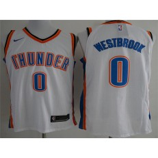 Oklahoma City Thunder #0 Russell Westbrook White Nike Authentic Men Jersey