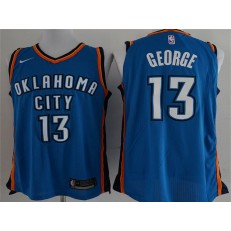 Oklahoma City Thunder #13 Paul George Blue Nike Authentic Men Jersey