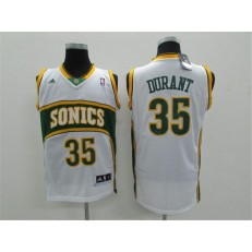 Seattle SuperSonics #35 Kevin Durant White Throwback Men Jersey