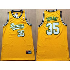 Seattle SuperSonics #35 Kevin Durant Yellow Men Jersey