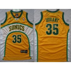Seattle SuperSonics #35 Kevin Durant Yellow New Revolution 30 Men Jersey