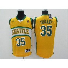 Seattle SuperSonics #35 Kevin Durant Yellow Throwback Men Jersey