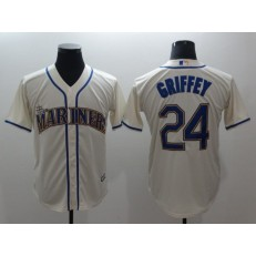 MLB Seattle Mariners #24 Ken Griffey Jr. Cream Cool Base Men Jersey