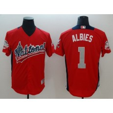 National League #1 Ozzie Albies Red 2018 MLB All-Star Game Home Run Derby Men Jersey