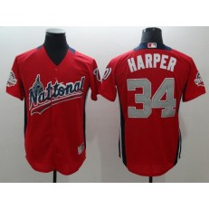 National League #34 Bryce Harper Red 2018 MLB All-Star Game Home Run Derby Men Jersey