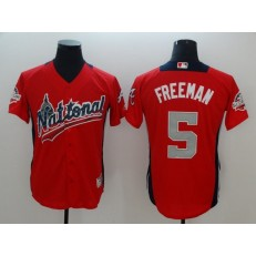 National League #5 Freddie Freeman Red 2018 MLB All-Star Game Home Run Derby Men Jersey