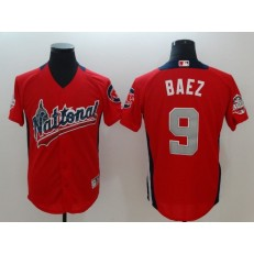 National League #9 Javier Baez Red 2018 MLB All-Star Game Home Run Derby Men Jersey