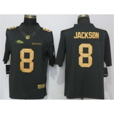 Baltimore Ravens #8 Lamar Jackson Anthracite Gold Salute To Service Limited Nike NFL Men Jersey