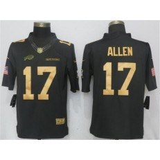 Buffalo Bills #17 Josh Allen Anthracite Gold Salute To Service Limited Nike NFL Men Jersey