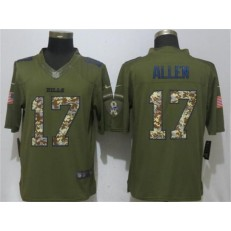 Buffalo Bills #17 Josh Allen Army Green Salute To Service Limited Nike NFL Men Jersey