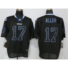 Buffalo Bills #17 Josh Allen Black Lights Out Elite Nike NFL Men Jersey