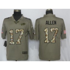 Buffalo Bills #17 Josh Allen Olive Vapor Salute To Service Limited Nike NFL Men Jersey