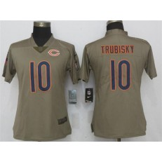 Women Nike Chicago Bears #10 Mitchell Trubisky Olive Salute To Service Limited NFL Jersey