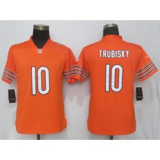 Women Nike Chicago Bears #10 Mitchell Trubisky Orange Vapor Untouchable Limited Player NFL Jersey