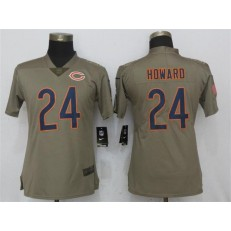 Women Nike Chicago Bears #24 Jordan Howard Olive Salute To Service Limited NFL Jersey