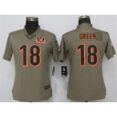Women Nike Cincinnati Bengals #18 A.J. Green Olive Salute To Service Limited NFL Jersey