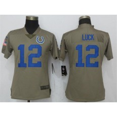 Women Nike Indianapolis Colts #12 Andrew Luck Olive Salute To Service Limited NFL Jersey