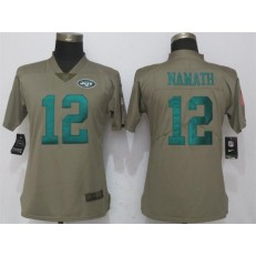 Women Nike New York Jets #12 Joe Namath Olive Salute To Service Limited NFL Jersey