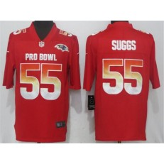 Baltimore Ravens #55 Terrell Suggs Red AFC 2018 Pro Bowl Game Nike NFL Men Jersey
