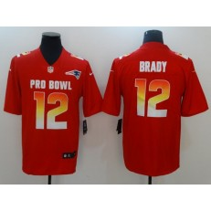 New England Patriots #12 Tom Brady Red AFC 2018 Pro Bowl Limited Nike NFL Men Jersey