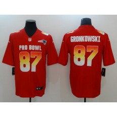 New England Patriots #87 Rob Gronkowski Red AFC 2018 Pro Bowl Limited Nike NFL Men Jersey