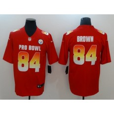 Pittsburgh Steelers #84 Antonio Brown Red AFC 2018 Pro Bowl Limited Nike NFL Men Jersey