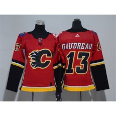 Calgary Flames #13 Johnny Gaudreau Red Women Adidas Jersey